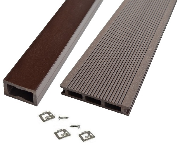 KIT Terrasse Bois Composite - Marron Chocolat - PRO XTREM 26X140 MM