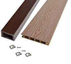 Kit terrasse bois composite lisse brun noisette mdsa france - Kit terrasse composite ...